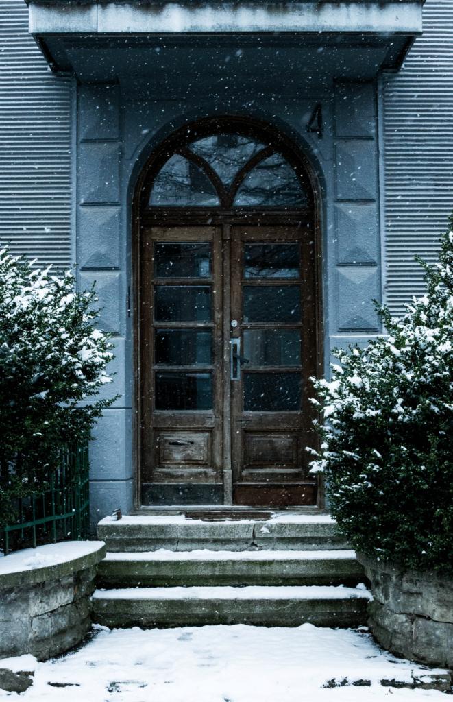 snow on porch