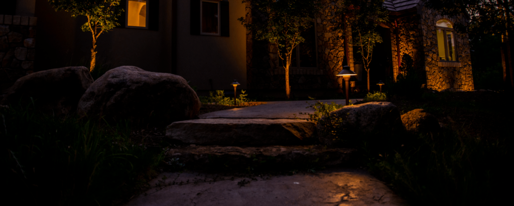 lit path to house