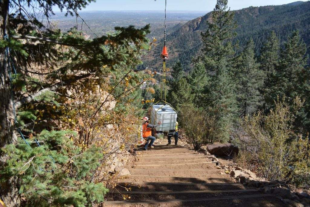 Supplies delivered to Manitou Incline by Helicopter