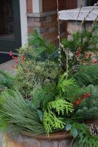 Winter Planter with Evergreen Tree top and Decor