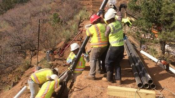 construction on the incline