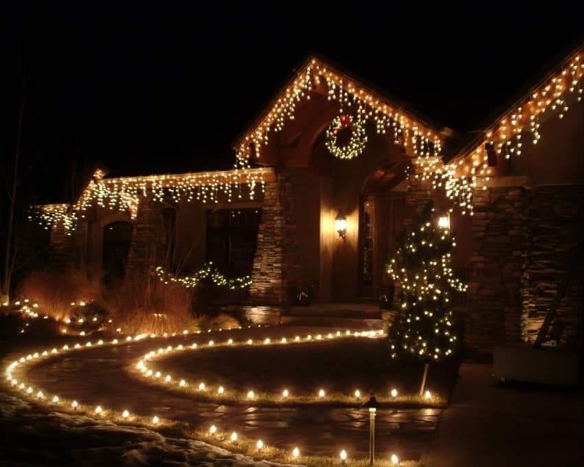 A home with holiday lighting or christmas lighting