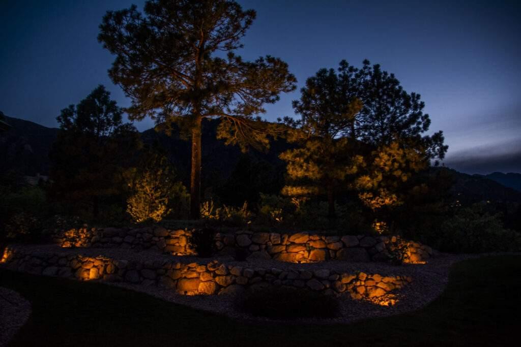 outdoor landscape lighting trees retaining wall
