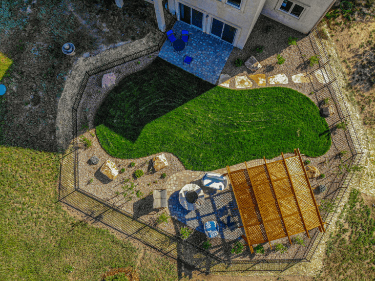 Turf with Pergola and Fire Pit