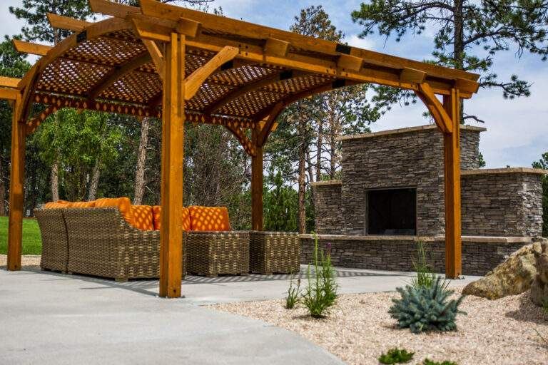 fire place with pergola