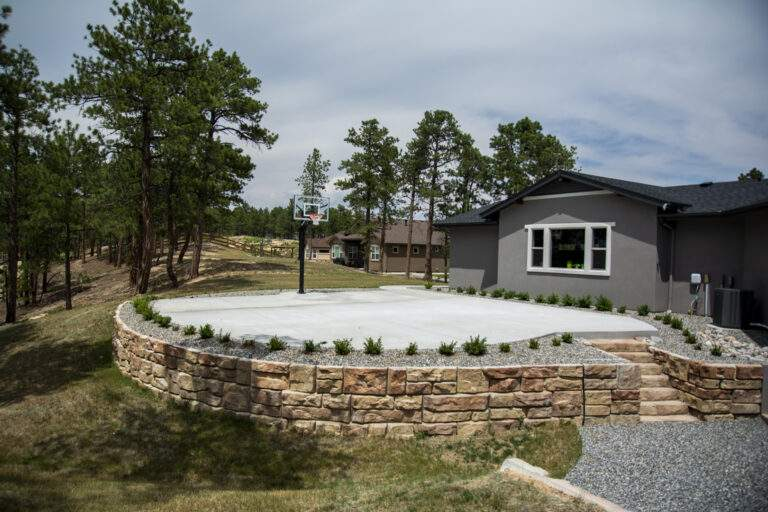 Court with Retaining Wall