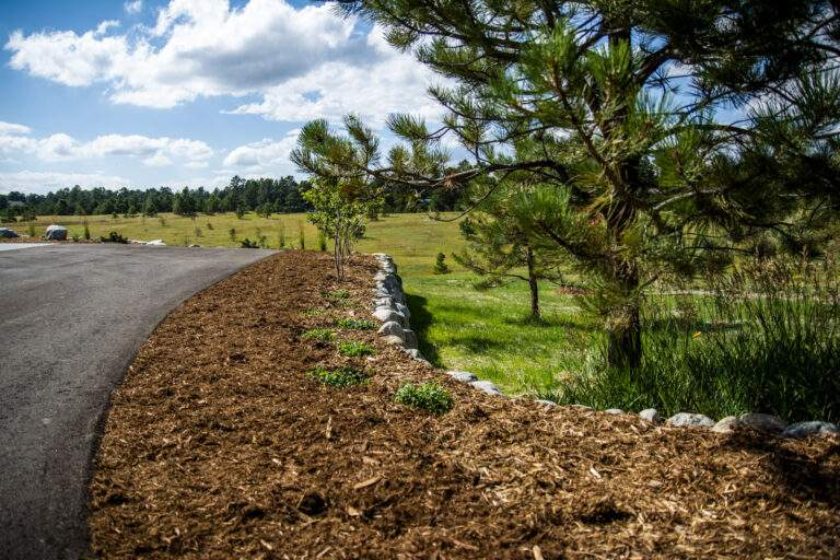 Retaining Wall with Mulch