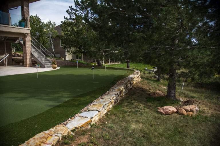 Backyard Putting Green with Retaining Wall