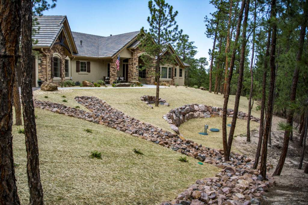Front Retaining Wall & Native Grass
