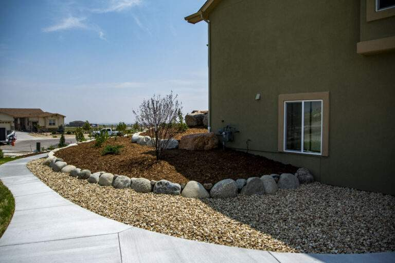 Retaining Wall with Mulch & Rock