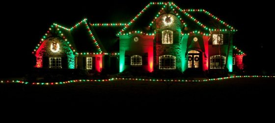 Christmas Lights Exterior Green and Red